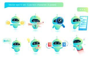 Simpatico set di caratteri per robot. Chatbot saluta. Consultazione online Illustrazione di cartone animato vettoriale
