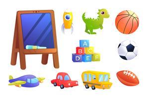 Set di giocattoli per bambini. Una macchina, un autobus, un aeroplano, un dinosauro, cubi con lettere dell'alfabeto, una palla sportiva per il gioco dei bambini e un consiglio scolastico. . Illustrazione di cartone animato vettoriale