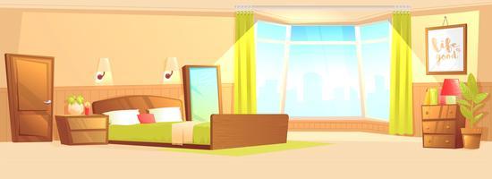 Camera da letto appartamento moderno interno con un letto, comodino, armadio e finestra e pianta. Illustrazione di cartone animato vettoriale