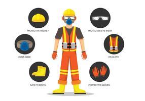 Illustrazione di equipaggiamento protettivo personale vettore