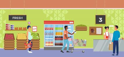 Negozio interno supermercato con cassiere e compratore di personaggi. Illustrazione piatta vettoriale