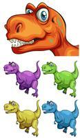 T-Rex in diversi colori vettore