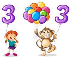 Ragazza e scimmia con palloncino numero tre vettore