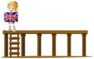 Ragazza e bandiera dell'Inghilterra sul palco vettore