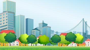 Edifici alti in città vettore