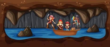 Pirata sulla barca nel fiume sotterraneo della caverna vettore