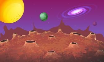 Scena di sfondo con superficie lunare e altri pianeti