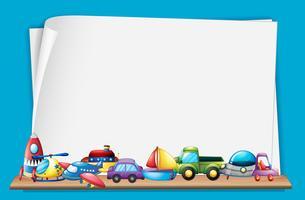 Modello di carta con molti giocattoli vettore