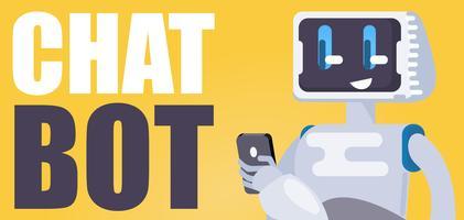 Chat Bot Sfondo gratuito. Il robot tiene il telefono, risponde ai messaggi. Illustrazione piatta vettoriale