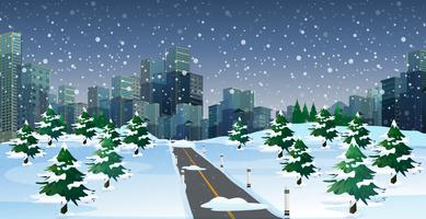 Scena di paesaggio urbano alla notte d'inverno