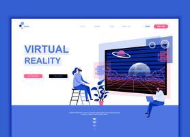 Il moderno concetto di modello di progettazione di pagina web piatta di realtà aumentata virtuale ha decorato il carattere di persone per il sito Web e lo sviluppo di siti Web mobili. Modello di pagina di destinazione semplice. Illustrazione vettoriale