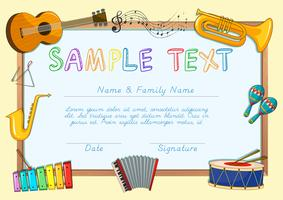 Modello di certificato con strumenti musicali