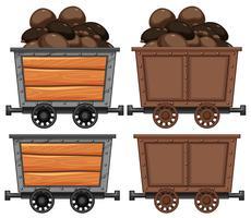 Un carrello pieno di carbone vettore