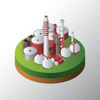 Set edificio industriale olio isometrico vettore