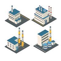 Strutture industriali edifici isometrici vettore
