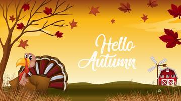 Ciao autunno grazie a dare la carta vettore