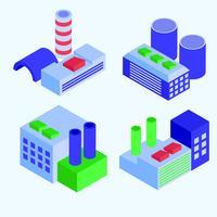 set di edifici industriali isometrici