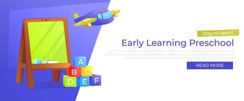 Insegna di apprendimento preliminare della scuola materna. Gioca per imparare. Pubblicità della scuola materna con il consiglio scolastico e giocattoli. Illustrazione di cartone animato vettoriale
