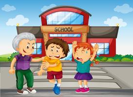 Ragazzo Bully raccogliendo i bambini a scuola vettore