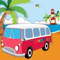 Tema estivo con van sulla spiaggia vettore