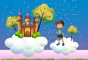 Un ragazzo e un castello galleggiante vettore