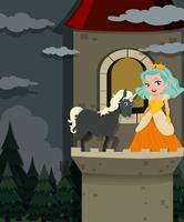 Principessa e unicorno nella torre vettore