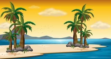 Scena con spiaggia e oceano vettore