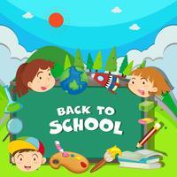 Ritorno al tema della scuola con i bambini vettore