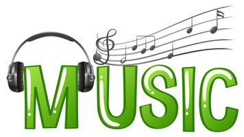 Progettazione di font per musica di parole con cuffie e note musicali vettore