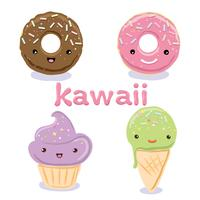 Simpatici personaggi del cibo Kawaii mettono insieme collezioni vettore