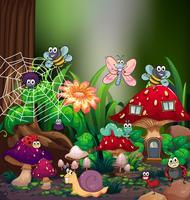 Molti tipi di bug nella foresta vettore