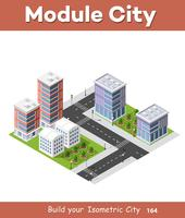 Concetto di città isometrica delle imprese di infrastrutture urbane vettore