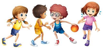 Bambini che giocano a basket su sfondo bianco vettore