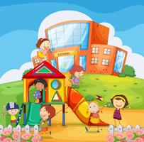 Bambini che giocano nel cortile della scuola vettore