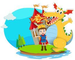 Principe e drago che spara fuoco vettore