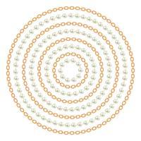 Modello rotondo realizzato con catene e perle dorate. Su bianco Illustrazione vettoriale