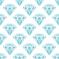 Modello senza cuciture dei diamanti blu geometrici su fondo bianco. Design di cristalli trendy alla moda. vettore