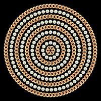 Modello rotondo realizzato con catene e perle dorate. Sul nero Illustrazione vettoriale