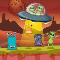 Molti alieni sulla superficie del pianeta vettore
