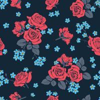 Rose rosse e fiori di myosotis su sfondo blu scuro. Modello senza soluzione di continuità Vector illustartion