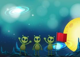 Tre alieni su uno strano pianeta vettore