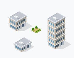 Quartiere delle case di strada isometrica vettore