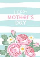 Buona festa della mamma. Rose shabby chic su sfondo lineare verde chiaro blu con testo. Carta floreale, carina Vector illustartion