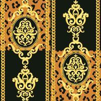 Modello damascato senza soluzione di continuità. Oro su nero e texture leopardo animale con catene. Illustrazione vettoriale