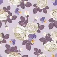 Retro motivo floreale senza soluzione di continuità. Rose bianche con foglie viola, viole del pensiero su sfondo viola chiaro. Illustrazione vettoriale