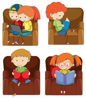 Set di bambini doodle studiando