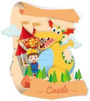 Principe e drago nella favola vettore