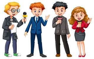 Set di caratteri reporter di notizie vettore