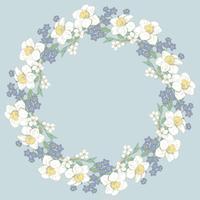 Modello rotondo floreale su sfondo blu. Illustrazione vettoriale