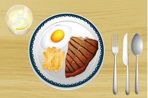 Bistecca, uova e patatine fritte